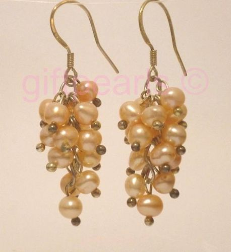 Peach-pink pearl 'grape' cluster drop ear-rings.
